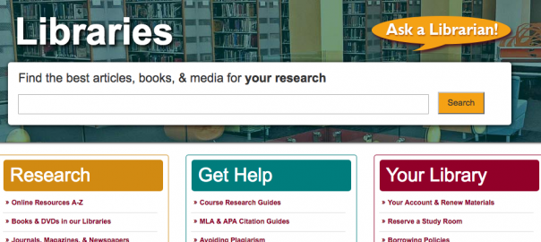MCCC Libraries homepage screenshot
